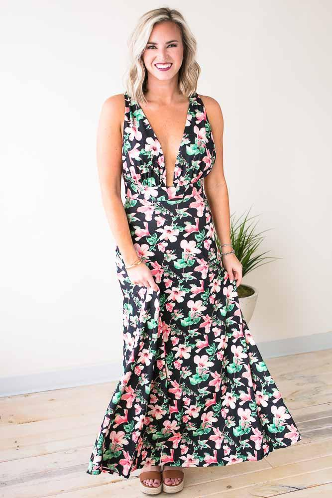 c7c08a5647 Dresses Pink Hibiscus Strappy Back Floral Maxi Dress - Lotus Boutique