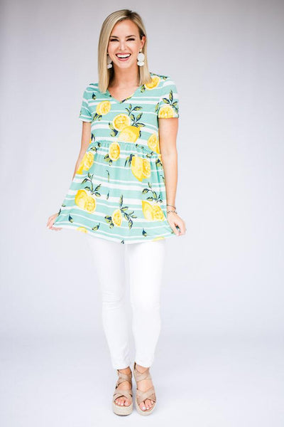 Lemon Print Babydoll Top