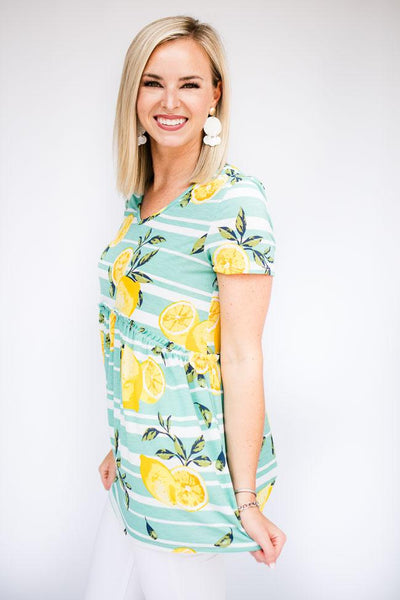 Sage Stripe Lemon Print Top