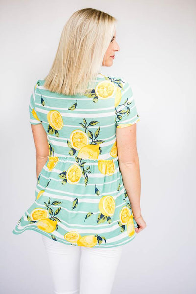 Babydoll Lemon Print Top