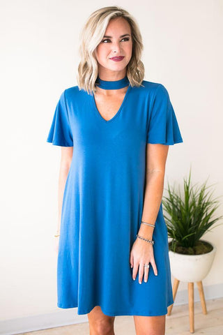 Hours with You Keyhole Pocket Dress - Blue