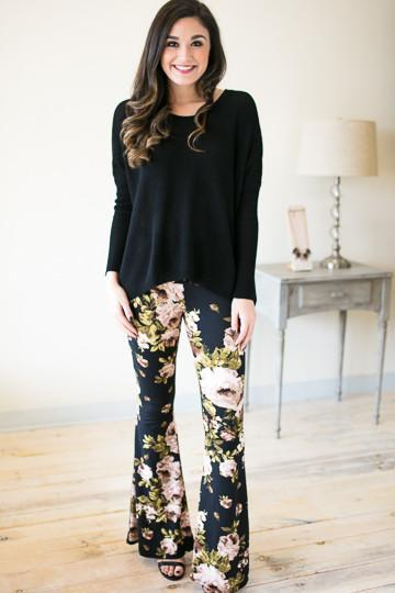 Infinite Floral Printed Bell Bottoms