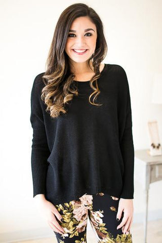 Secret Crush Dolman Sleeve Sweater - Black