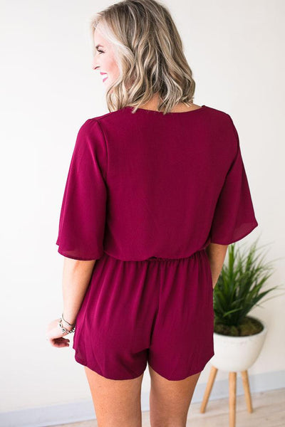 Playsuits Perfect Poise Flutter Sleeve Wine Romper - Lotus Boutique