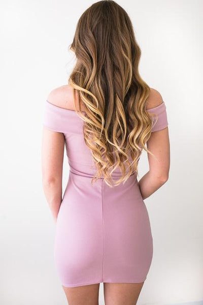 Dresses Make Me Blush Off Shoulder Body Con Dress - Lotus Boutique