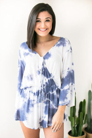 Walk This Way Tie Dye Romper - Navy