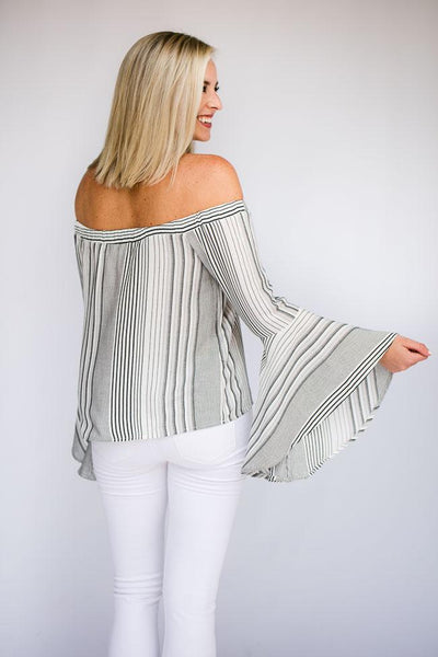 Tops Thankful Over All Stripe OTS Top - Lotus Boutique