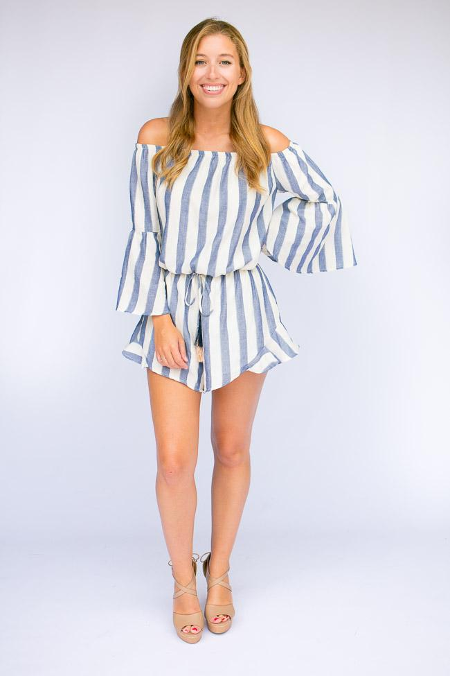Blue Stripe Off Shoulder Romper