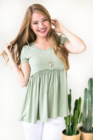 Forever Your Girl Babydoll Top - Olive