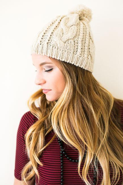 Pursuit Of Happiness Knit Beanie - Beige