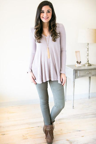 Washed With Purple Thermal V-neck Top
