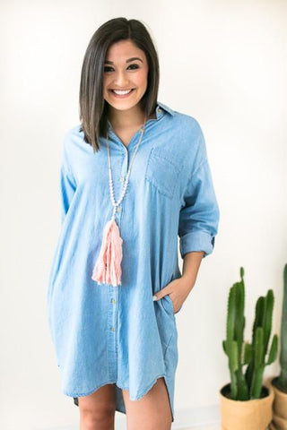 Classic Chambray Button Up Dress