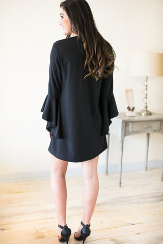 Just Like That Flutter Sleeve Little Black Dress