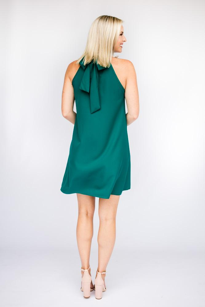 Dresses Watching Over Us High Neck Dress in Aqua - Lotus Boutique