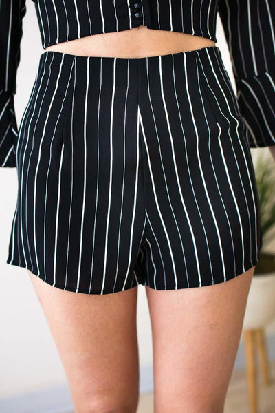 Bottoms Currently Striped High Waist Shorts - Lotus Boutique