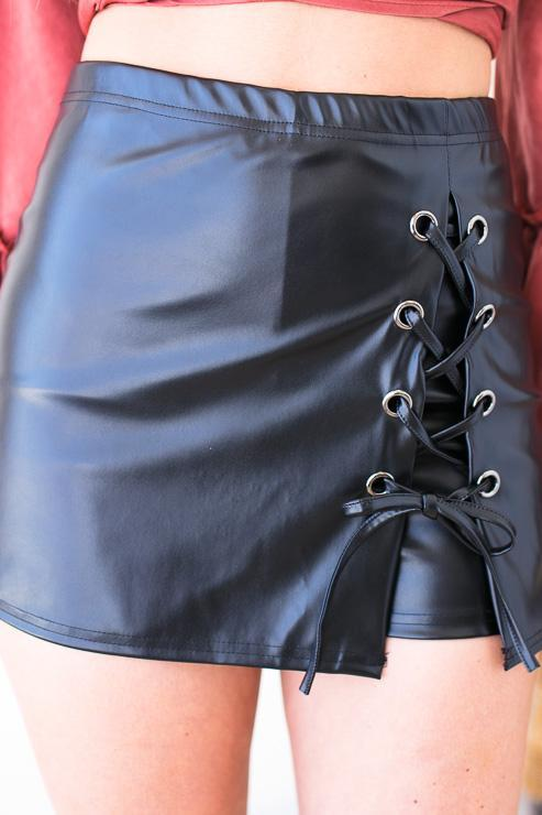 Bottoms Capture My Attention Pleather Lace Up Skort - Lotus Boutique