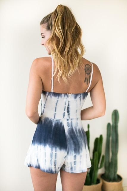 Come Closer Cut Out Tie Dye Romper-Rompers-Lotus Boutique-Lotus Boutique