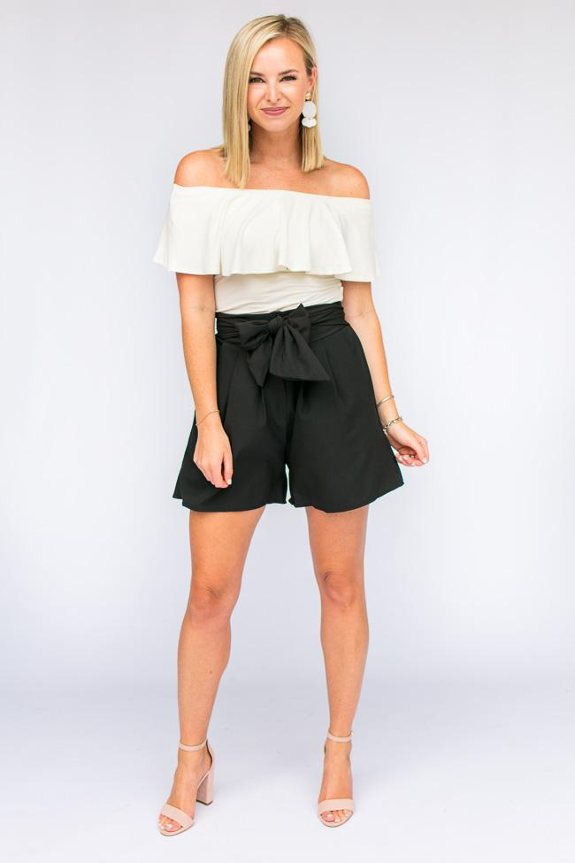 Bottoms Something Real Black High Waist Shorts - Lotus Boutique