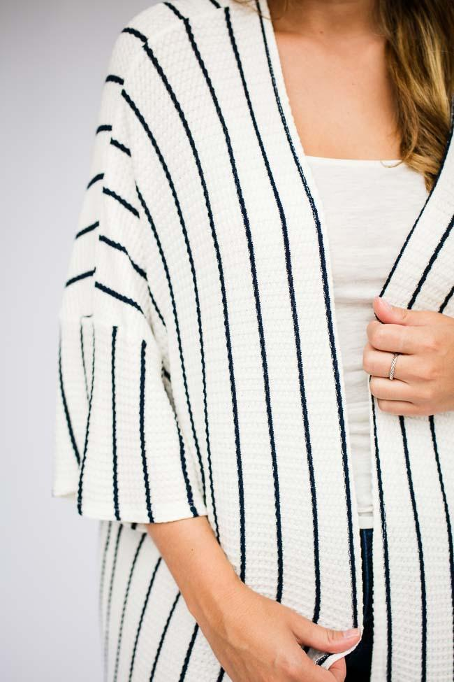 Tops Adore You Stripe Sweater Cardigan in Navy - Lotus Boutique