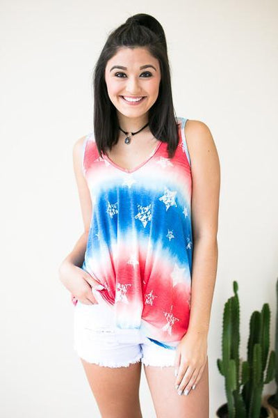 Tops Independence Day Knot Hem Tank Top - Lotus Boutique
