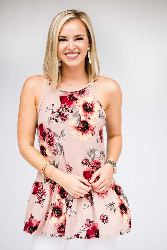 Ruffle Bottom Floral Tank