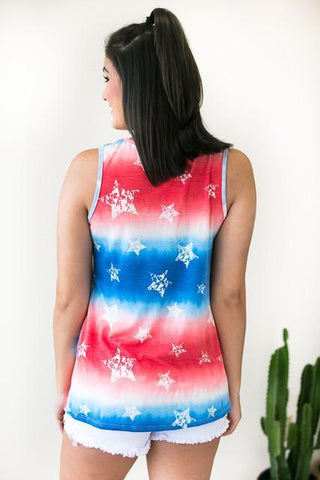 Independence Day Knot Hem Tank Top