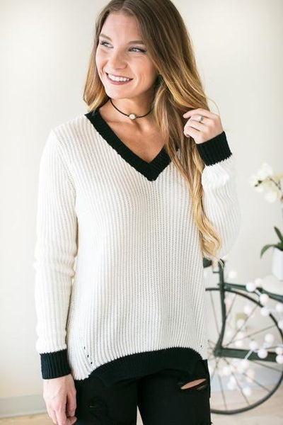 Tops Capturing Feelings Black and Ivory Sweater - Lotus Boutique