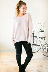 Work From Home Twist Back Sweater - Blush