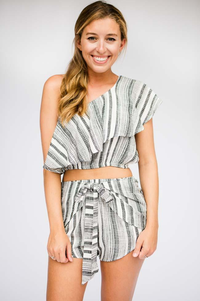 Stripe Ruffle One Shoulder Crop Top