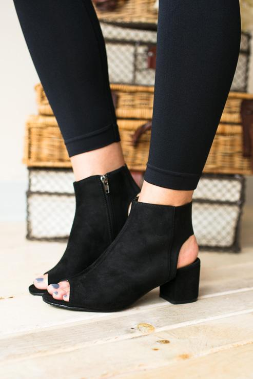 Lucy Open Toe Black Bootie-Shoes-Lotus Boutique-Lotus Boutique
