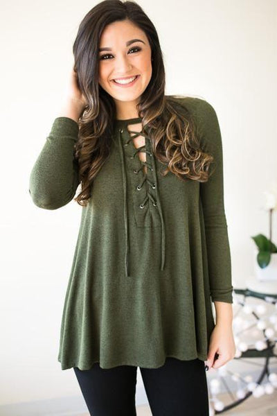 Tops The Gap Between Us Lace Up Top - Green - Lotus Boutique