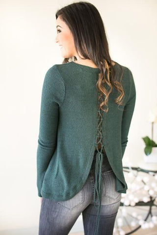 True Love Lace Up Back Teal Top