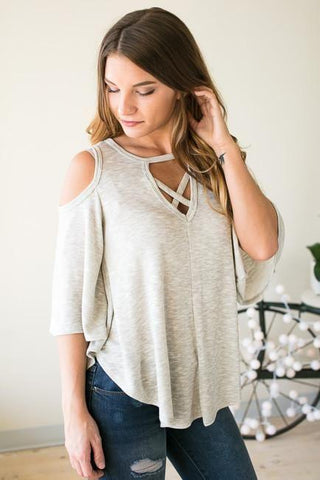 Never Leave Me Cut Out Flowy Top