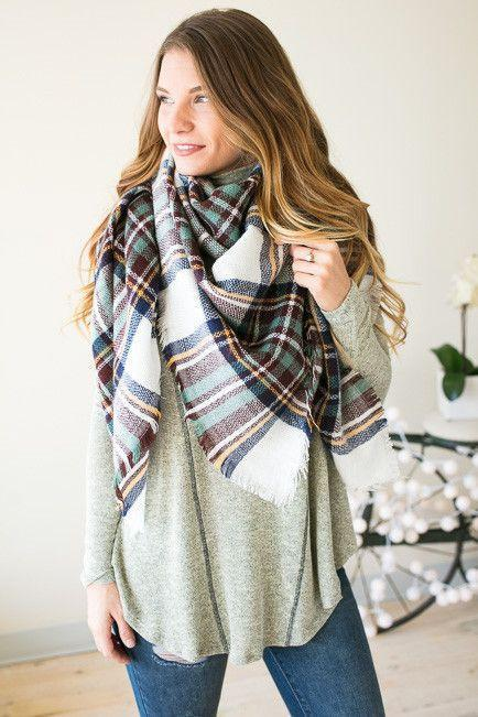 Accessories Bundle Up Plaid Blanket Scarf - Lotus Boutique
