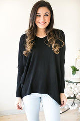 See It High Then Low V-back Sweater - Black