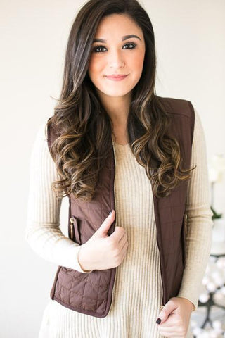 Take A Hike Quilted Vest - Mocha