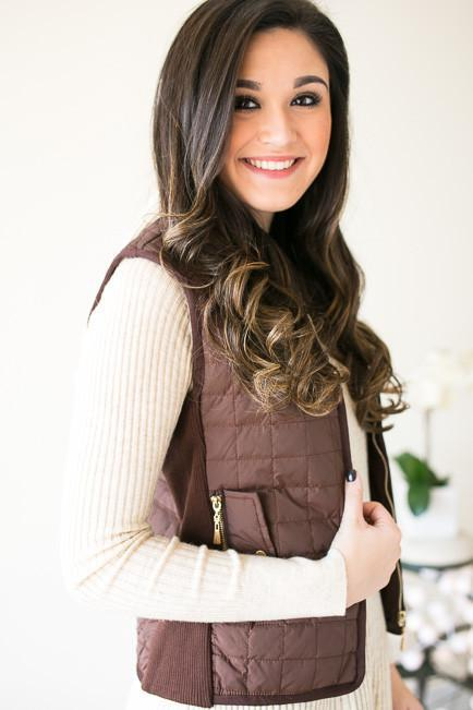 Take A Hike Quilted Vest - Mocha-Tops-Lotus Boutique-Lotus Boutique