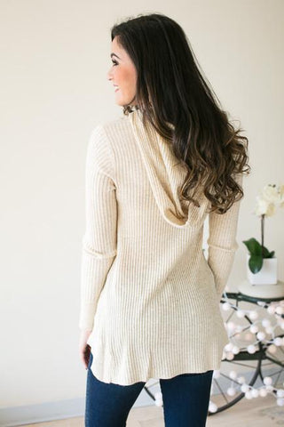 Let's Roll Ribbed Hooded Sweater