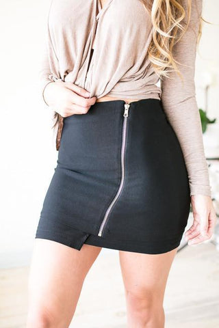 A Zipper in Time Envelope Zipper Skirt - Black