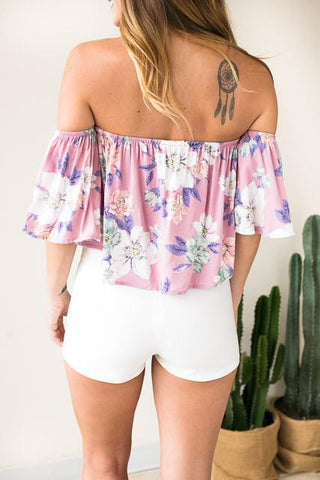 Sensational Pastels Off Shoulder Top