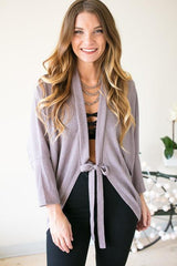Dipped in Lilac Tie Front Cardigan