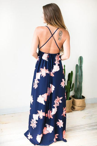 Caribbean Life Navy Floral Maxi Dress