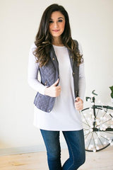 Are You Busy Grey Quilted Vest