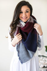 In the Navy Plaid Blanket Scarf