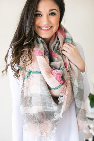 Look to the Light Pink Plaid Blanket Scarf