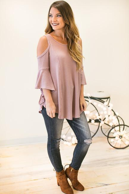 Sweet to the Core Waffle Knit Flare Top - Mauve