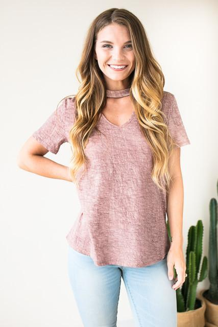 Textured Valley Cut Out T Shirt - Mauve