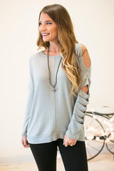 Born With It Slit Sleeve Soft Top - Grey