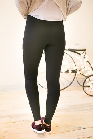 Ride or Die Leather Detail Leggings-Bottoms-Lotus Boutique-Lotus Boutique