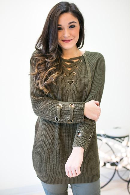 Crushing On This Lace Up Tunic Sweater - Olive